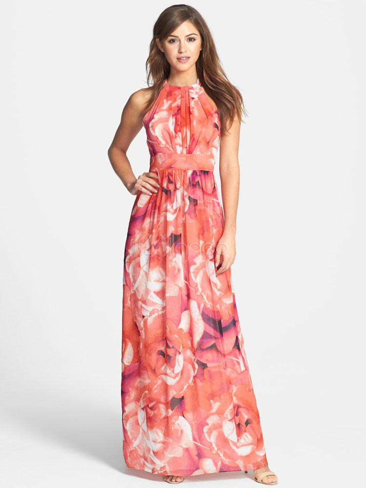 Floral Maxi Dress Women Jewel Sleeveless Chiffon Long Dress