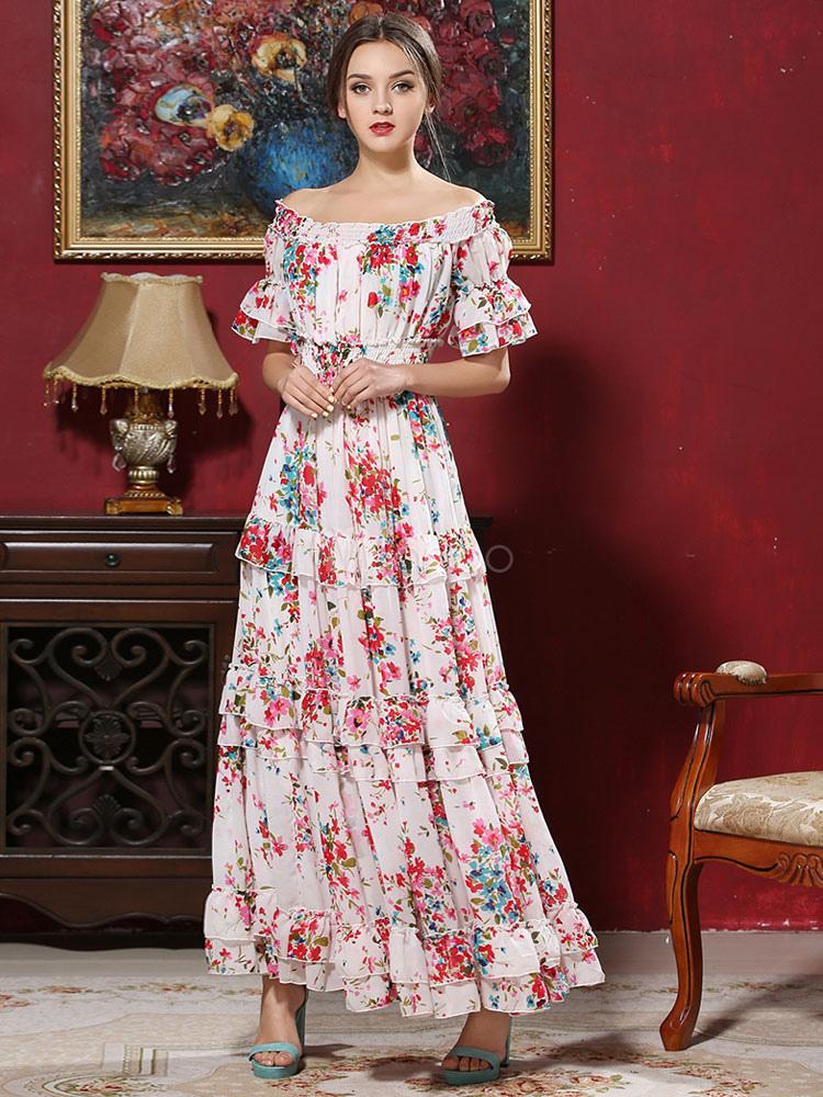 Off The Shoulder Chiffon Half Sleeve Short Sleeve Long Dress