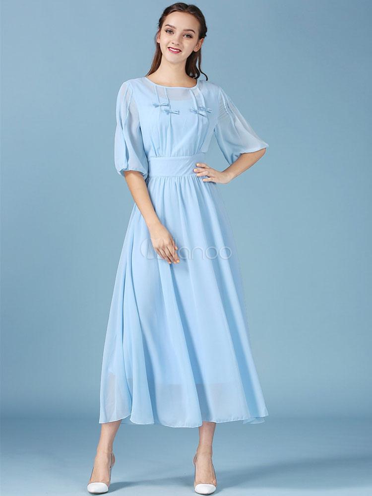 Blue Maxi Dress Chiffon Bow Half-Sleeve Long Dress For Women