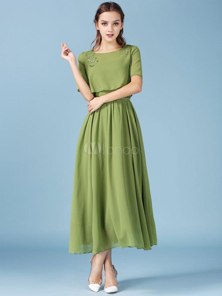 Ruffled Maxi Dresses Short Sleeve 2-Piece Chiffon Dresses In Dress&Top