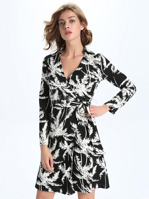 Milanoo / Black Skater Dresses V-neck Long Sleeve Printed Casual Flare Dresses For Women