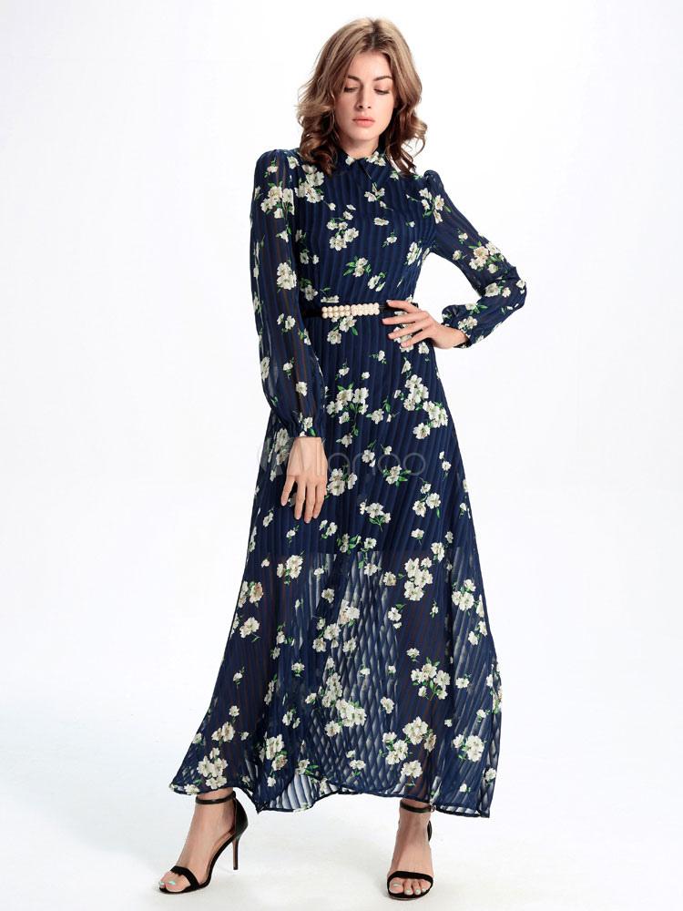 manches longues maxi robe mousseline de soie marine floral. Black Bedroom Furniture Sets. Home Design Ideas