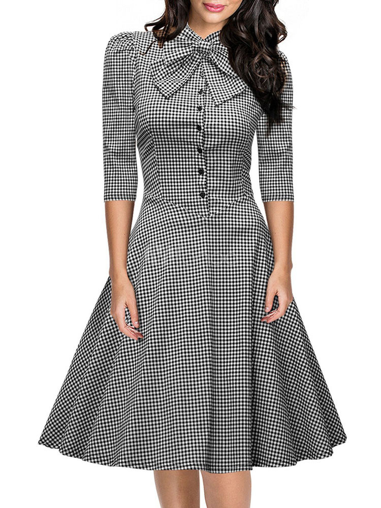 Plaid Vintage Dress Three Quarter Sleeve Bow Embellished Collar Retro  Skater Dress-No.1 ... cdf892b24