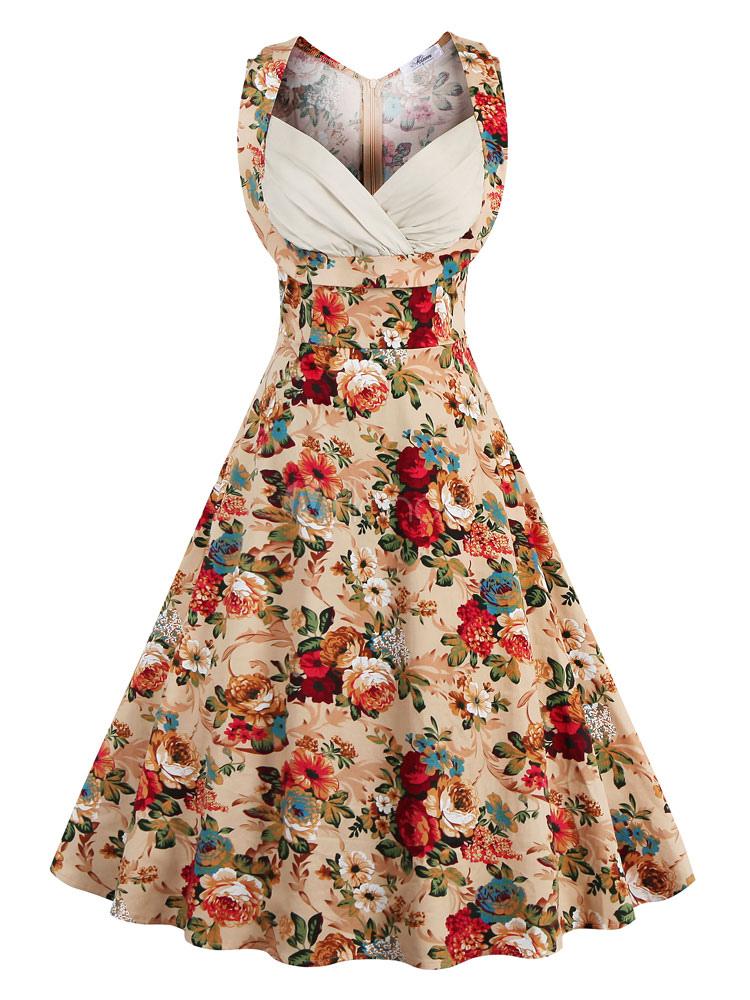 Floral Vintage Dress 1950s Sweetheart Women Swing Dress Retro Midi Dress