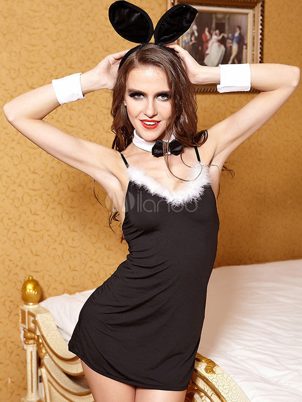 sexy bunny costume womens black feather costume outfit for halloween no