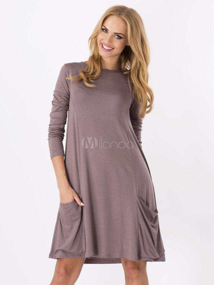 32f513810 Vestidos de verano de las mujeres vestidos manga larga bolsillos algodón  Casual Color sólido-No ...