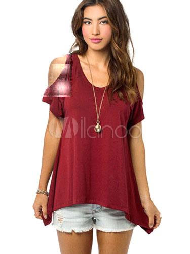 Women's Cotton T-shirt Short Sleeve Open Shoulder High Low Casual Tops