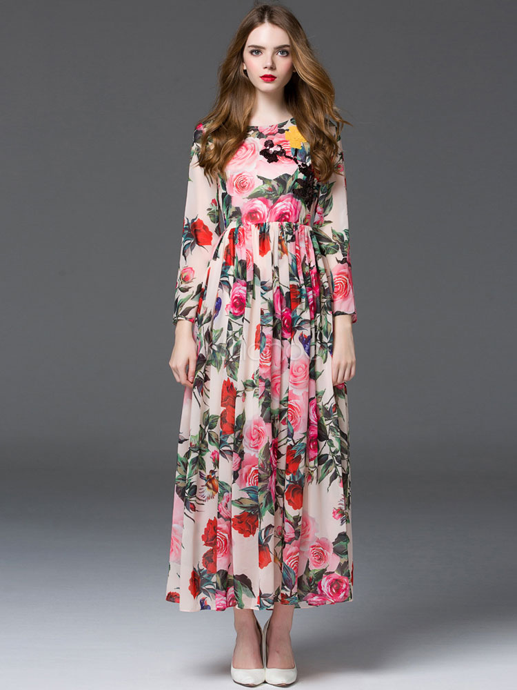 Long Sleeve Pleated Printed Chiffon Maxi Dress