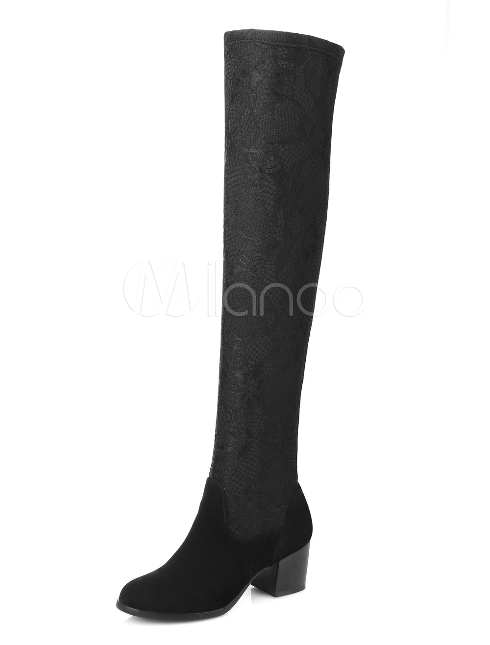 Black Stretch Boots Women's Chunky Middle Heel Over Knee Boots