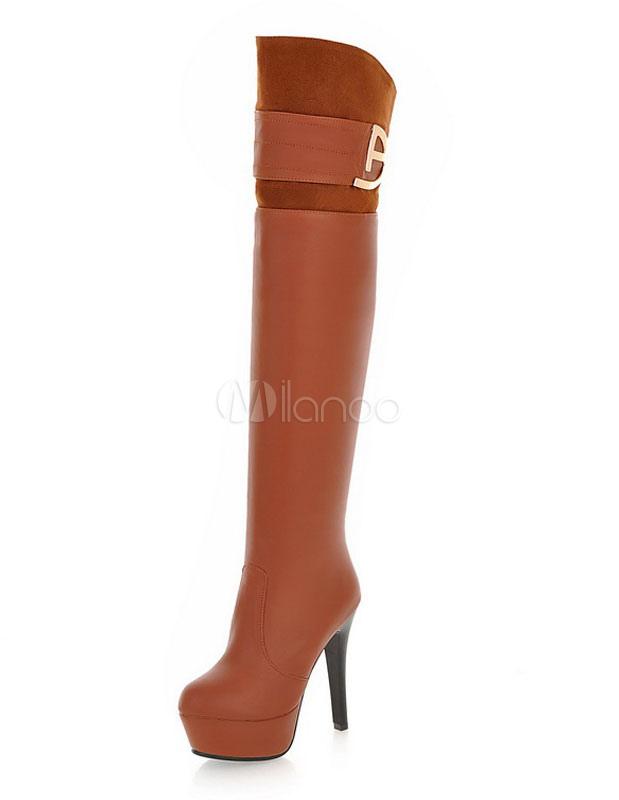 Buy Over Knee Boots Women's Platform Round Toe High Heel Boots For Winter for $39.99 in Milanoo store