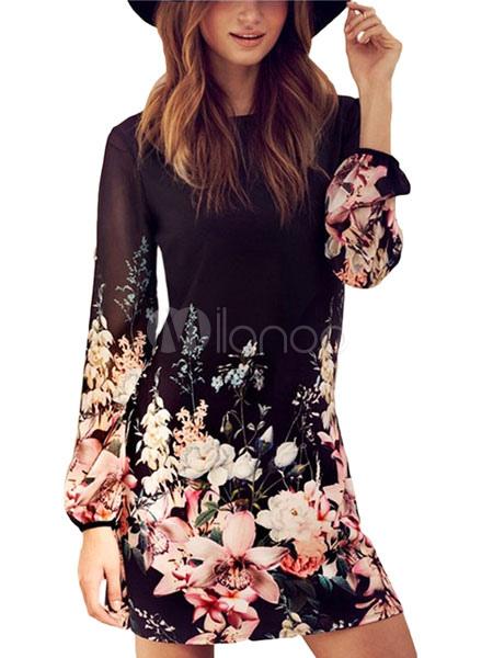 Women's Shift Dresses Long Sleeve Floral Print Back Zipper Short Chiffon Dresses Cheap clothes, free shipping worldwide