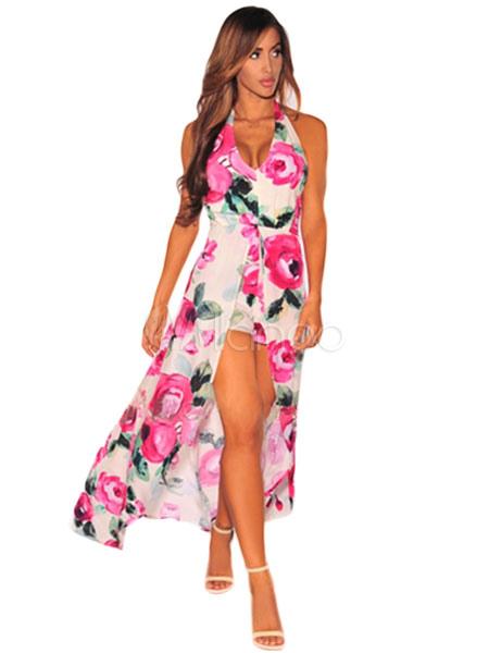 Pink Maxi Dress Women's Floral Print V-neck Backless Irregular Design Long Chiffon Dress