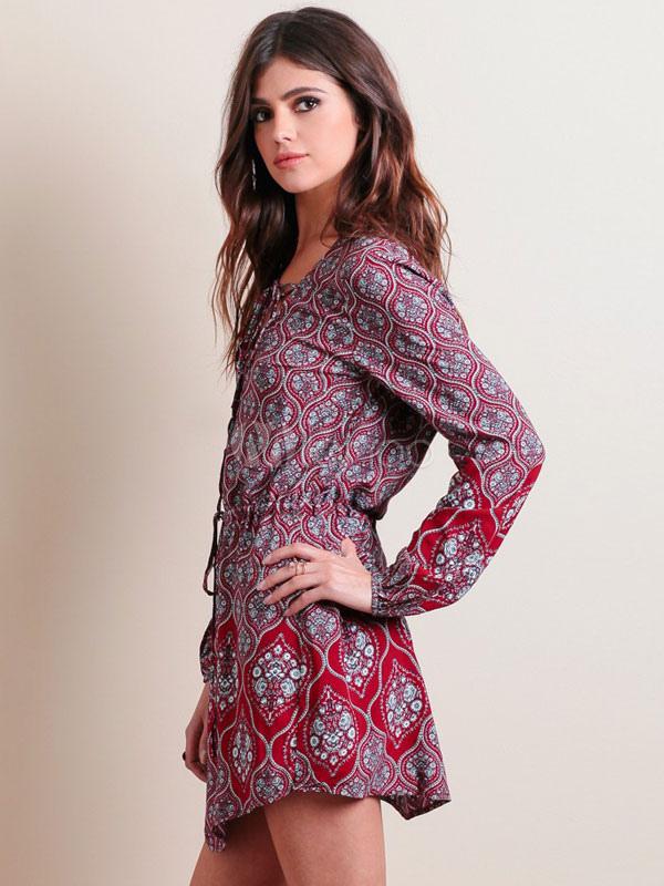 cheaper 0977e 03232 Boho vestitini con coulisse dettaglio manica lunga abiti corti per le donne