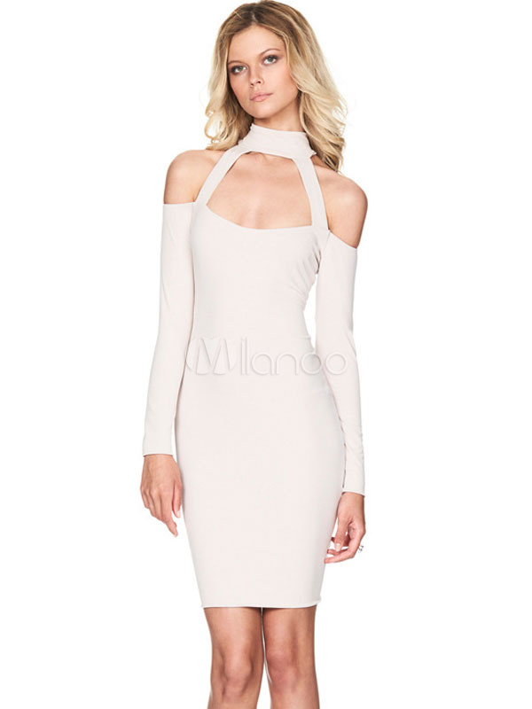 Buy Bodycon Choker Dress White Cold Shoulder Long Sleeve Midi Dress For Women for $27.89 in Milanoo store