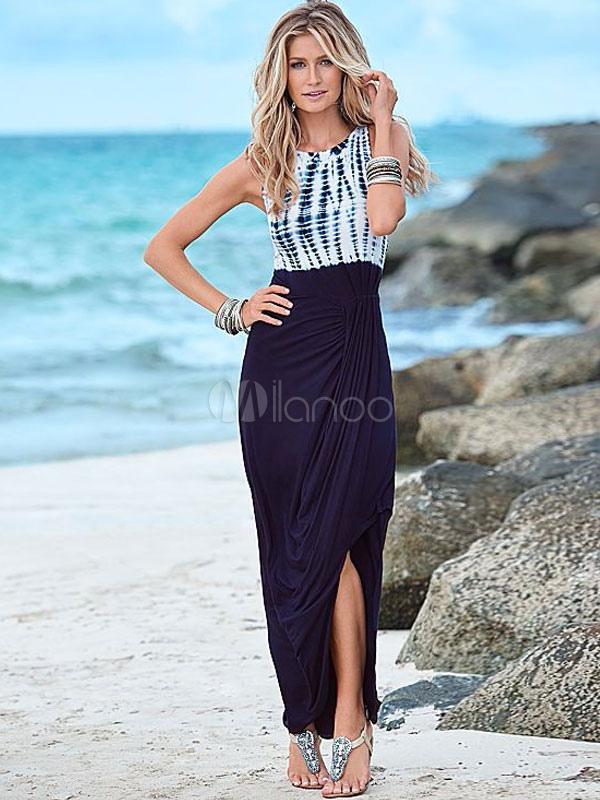 Bohemian Maxi Dress Women's Split Two-tone Printed Long Dress