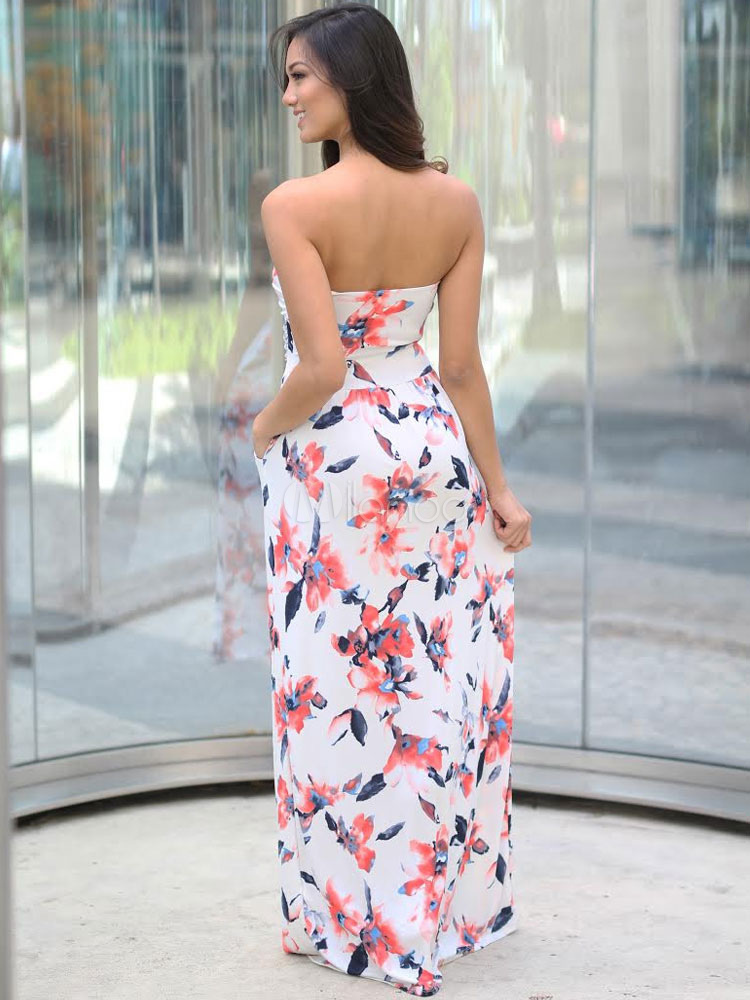 Milanoo / White Maxi Dress Chiffon Floral Print Strapless Floor Length Dress For Women With Pockets
