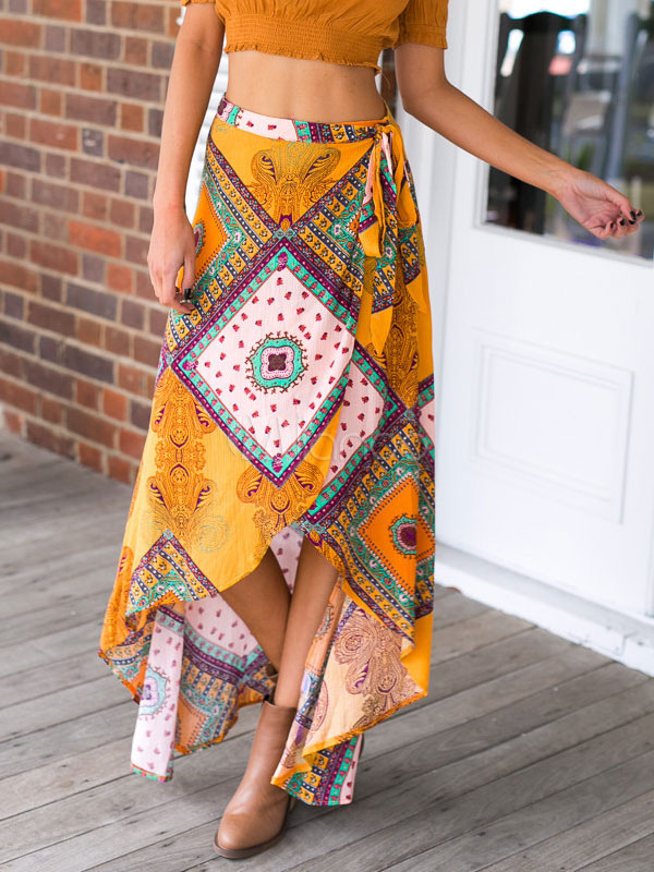 Tribal Print Tie Waist Split Maxi Skirt