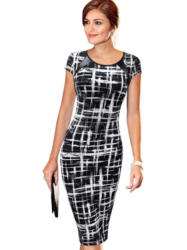 Round Neck Cap Sleeve Printed Pencil Dress