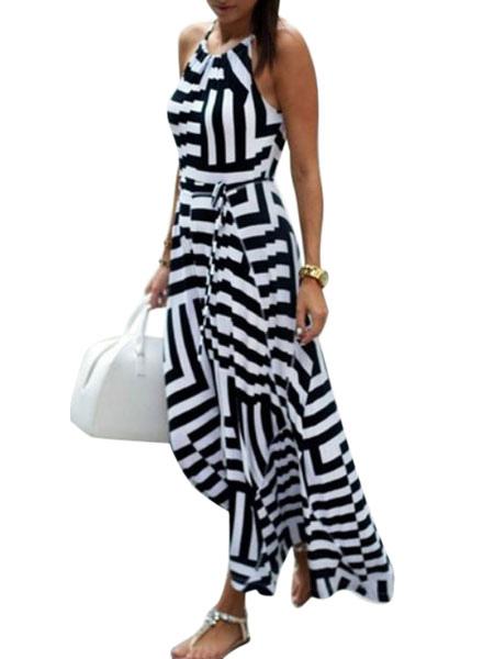 Women's Slip Dress Striped High Low Dress Cheap clothes, free shipping worldwide