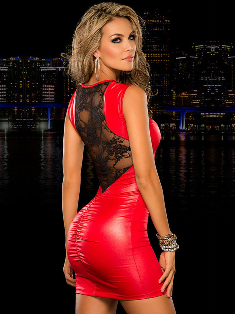 PU Club Dress Red Lace Sleeveless Slim Fit Sexy Dress Cheap clothes, free shipping worldwide