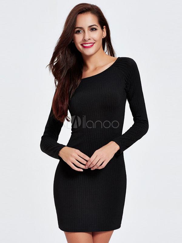 Maglia manica lunga aderente nero abiti donna abiti maglione-No.1 ... ee39d73f2af