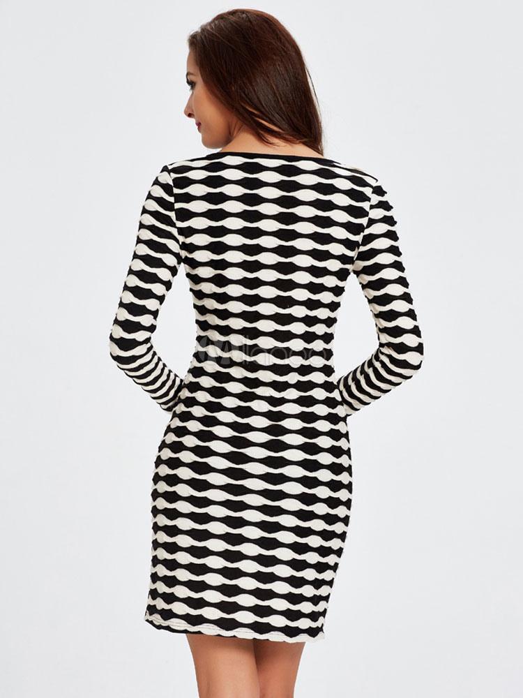Frauen figurbetonten Kleider V-Ausschnitt lange Ärmel gedruckt kurze ...