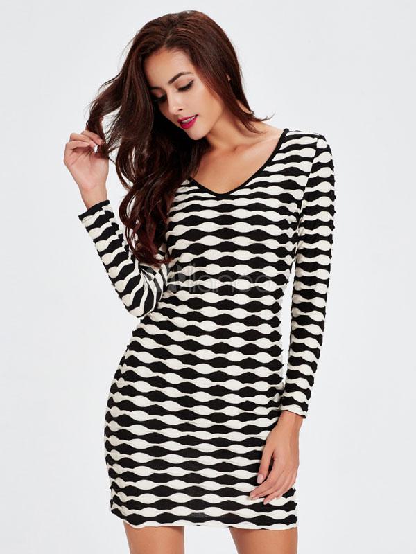 Buy Women's Bodycon Dresses V-neck Long Sleeve Printed Short Fall Dresses for $18.99 in Milanoo store