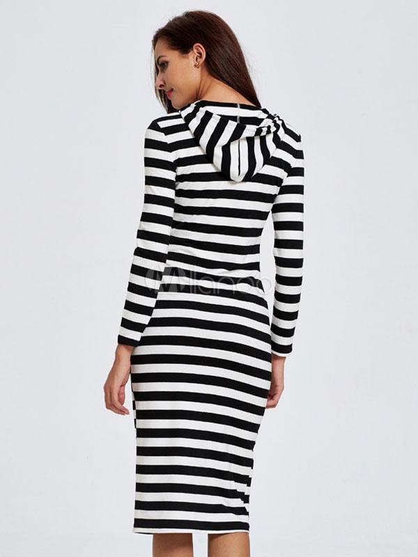 fc12d79827 ... Con capucha vestido largo vestidos de vestidos Bodycon rayas manga  larga mujeres-No.3