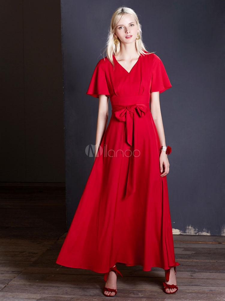 Vestido rojo largo de manga corta