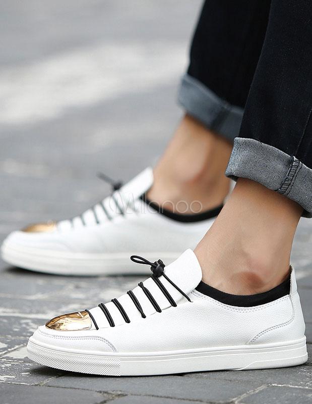 herren skate schuhe schn ren metalldetails runde zehe wei e sneaker freizeitschuhe. Black Bedroom Furniture Sets. Home Design Ideas