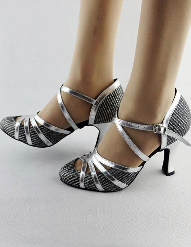 Ballroom Dance Shoes 2018 Latin Dancing Shoes Women Criss Cross Almond Toe High Heel Dance Shoes