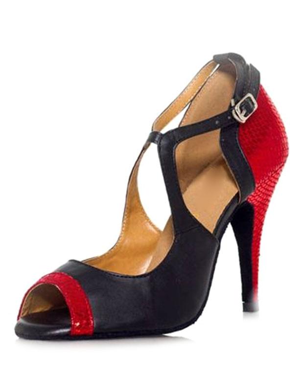 Negro zapatos dos colores PU cuero tacón zapatos de salón de baile de las mujeres Iz3wHj89