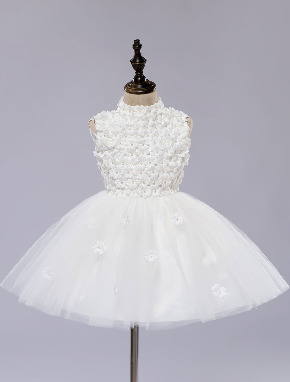 Flower Girl's Dress White Toddler's Pageant Tutu Dress With Lace Flower Applique