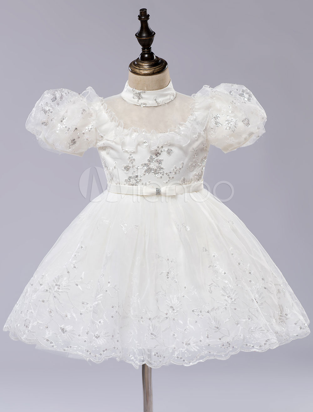 Buy Princess Toddlers' Dress Flower Girl's Dress Puffy Sleeves Pageant Dress With Illusion Neck for $55.79 in Milanoo store