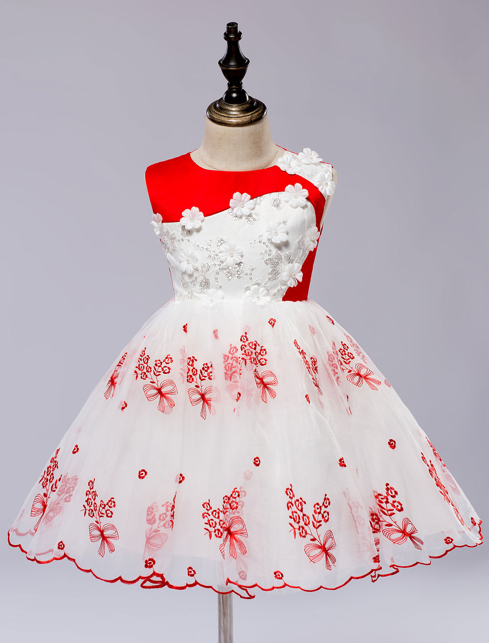 Buy Flower Girl's Dress Lace Applique Princess Toddler's Pageant Dress Satin Knee Length Toddlers Dresses for $35.14 in Milanoo store