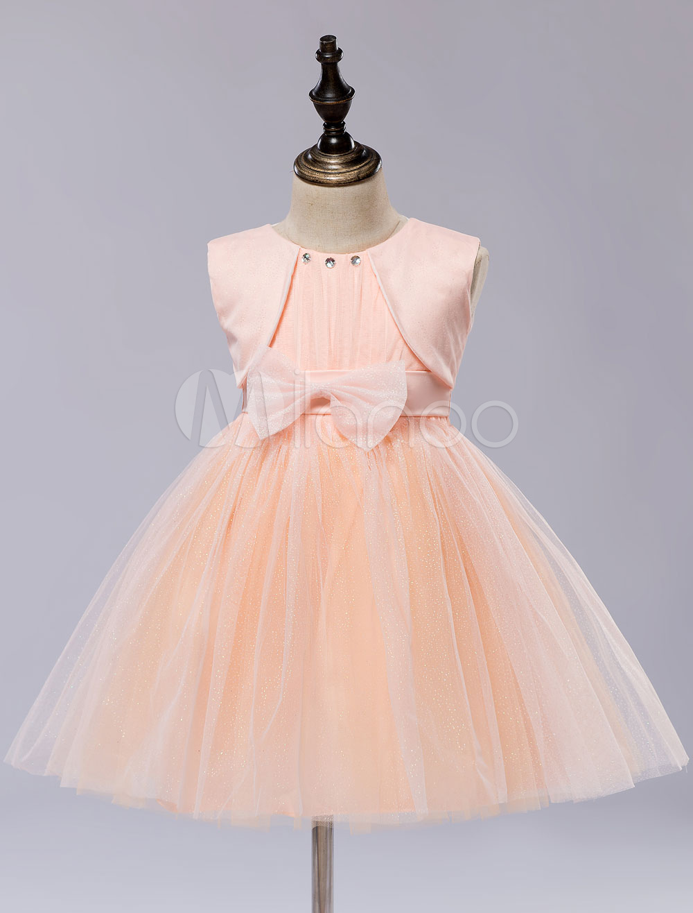 Flower Girls' Dress Knee-length Kid's Pageant Tutu Dress With Bows