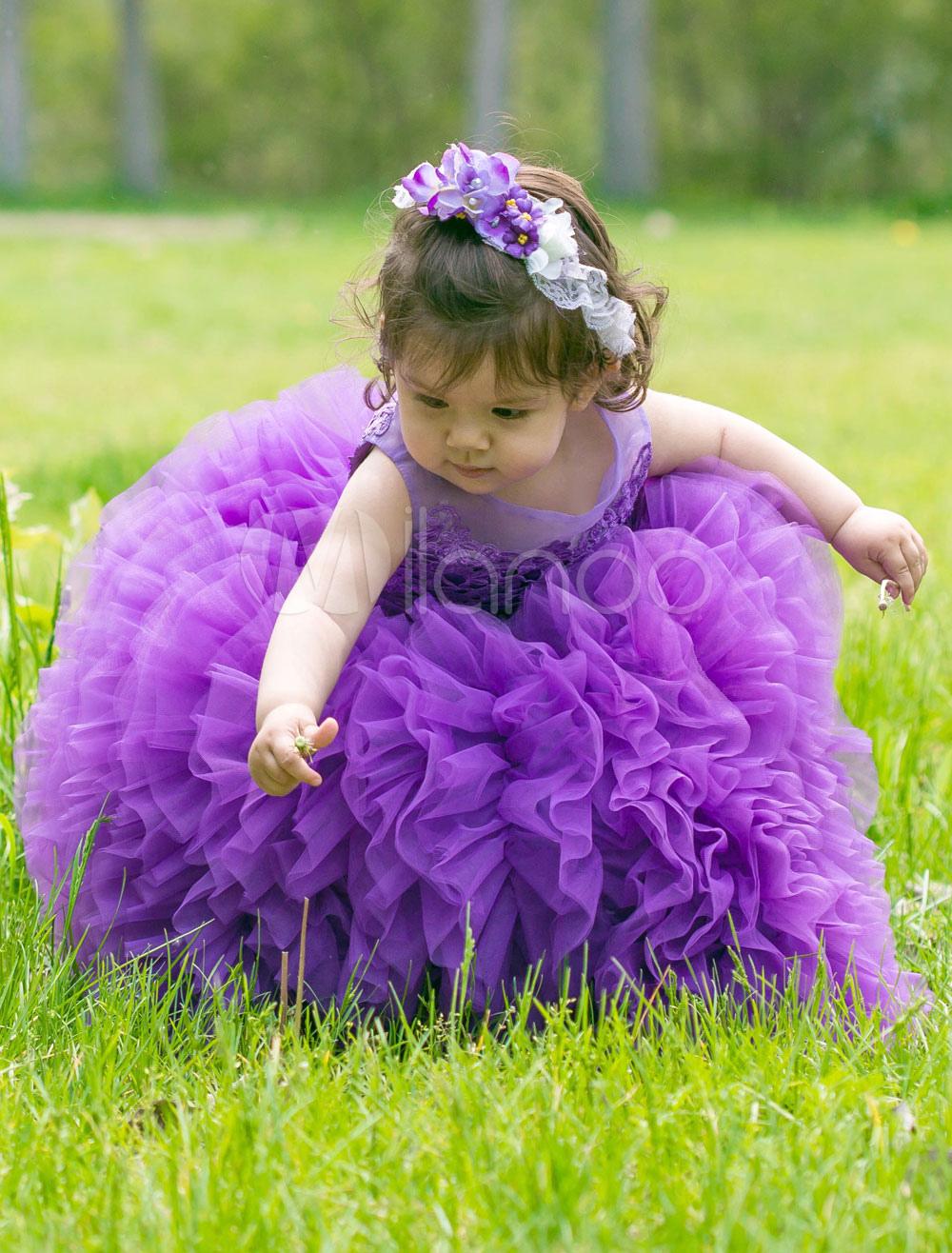 Lavender Toddler Dress Flower Girl Tutu Dress Ankle-length Ball Gown Prince Pageant Dress
