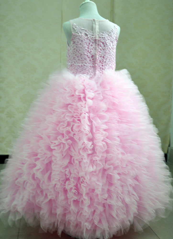 Rosa vestido del desfile vestido bola vestido hinchado el tobillo de ...