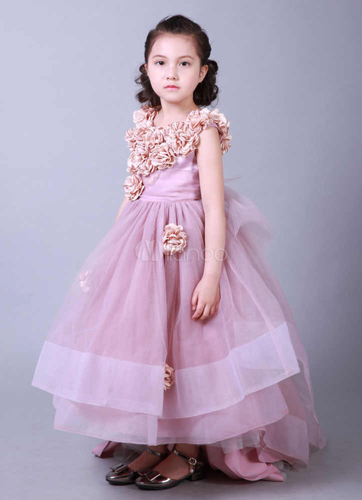 Vestido de la cena vestido alto-bajo flores apliques Organza tren ...