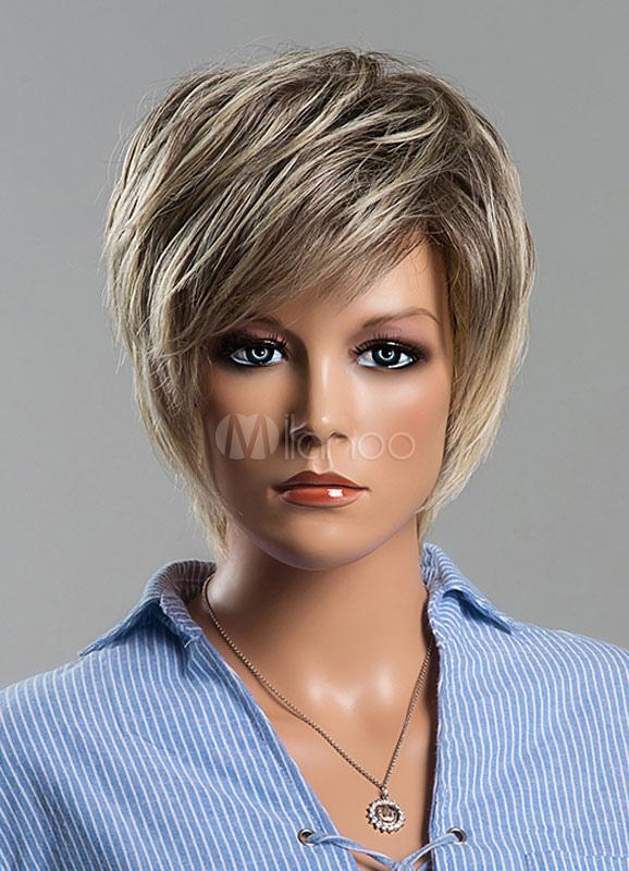 Human Hair Wigs Short Straight Wigs Women's Silver Gray Human Hair Wigs