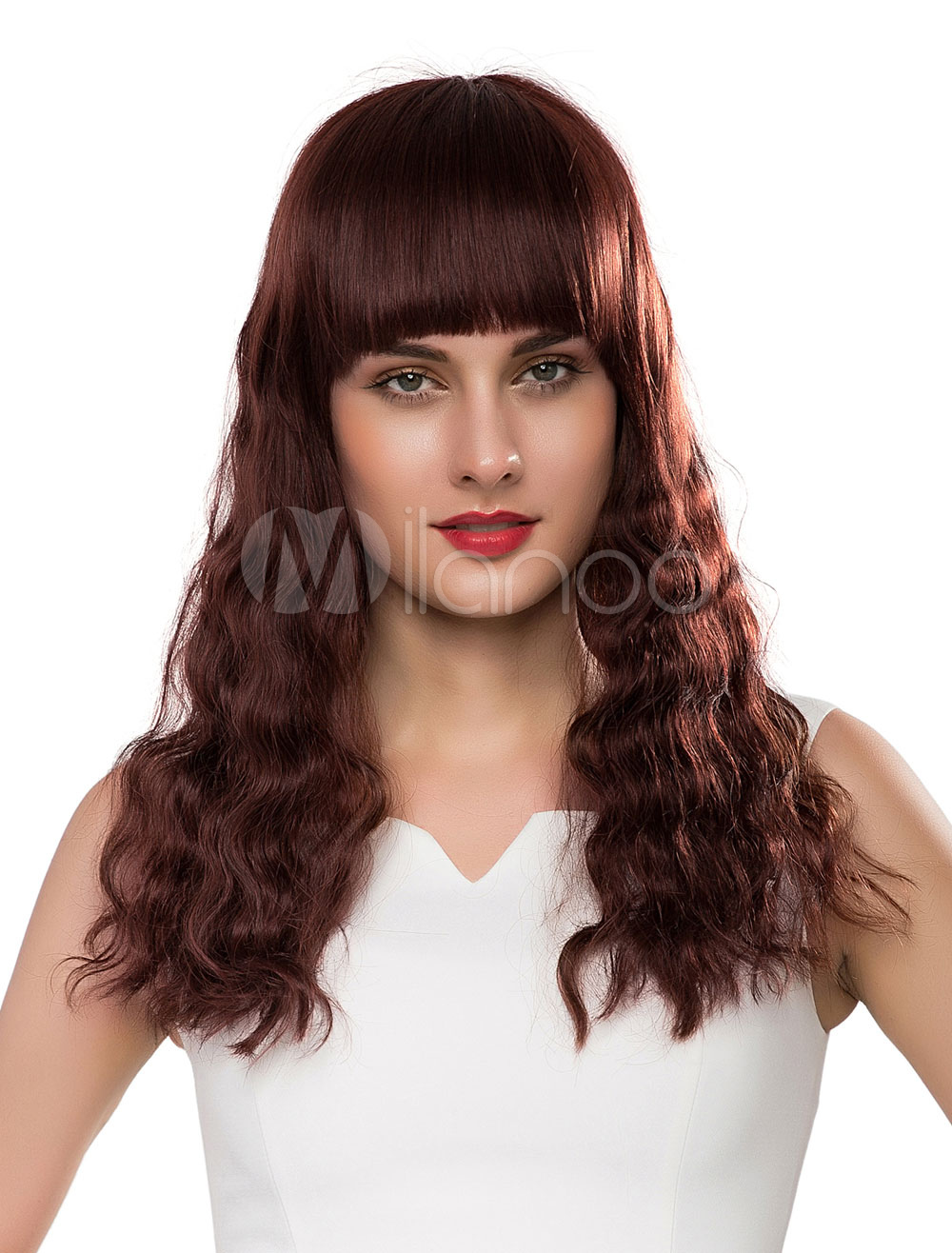 Long Human Hair Wigs Wave Women's Real Hair Wigs With Bangs