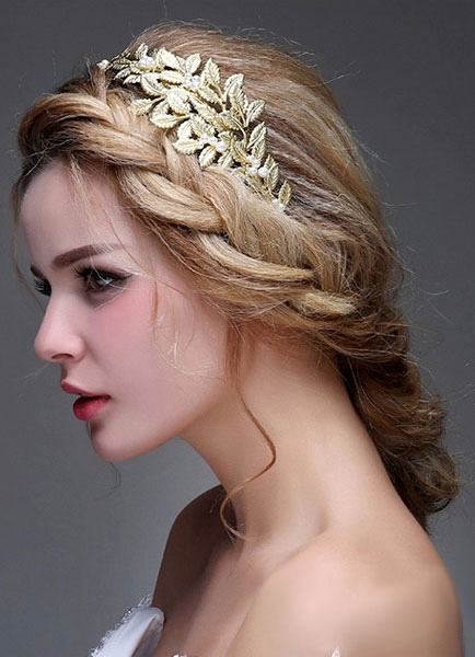 Bridal Pearl Headpiece Gold Wedding Headband ( 40 Cm X 7 Cm)