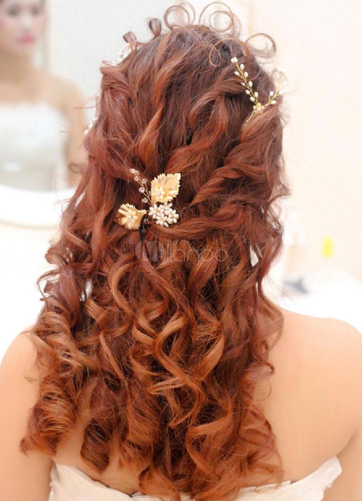 Buy Bridal Wedding Pearl Headpieces Gold Hair Pin Tiara  (8 Cm X 7 Cm) for $24.99 in Milanoo store