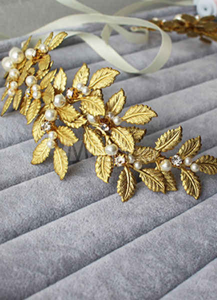 Braut Kopfschmuck Perlen Diadem Goldene Hochzeit Haarband 43 X 7 Cm