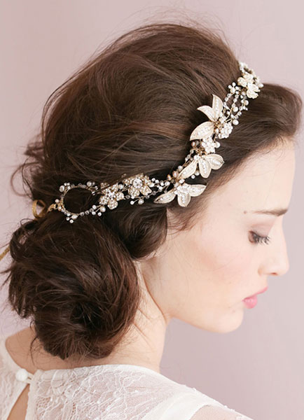 Gold Headpiece Chain Headpieces Bridal Wedding Flower Headband Tiara ( 40 Cm X 3 Cm)
