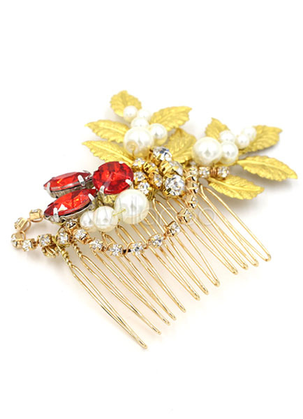 Buy Gold Comb Hair Pin Tiara Bridal Wedding Red Rhinestone Pearl Headpieces  (11 Cm X 7 Cm) for $19.99 in Milanoo store