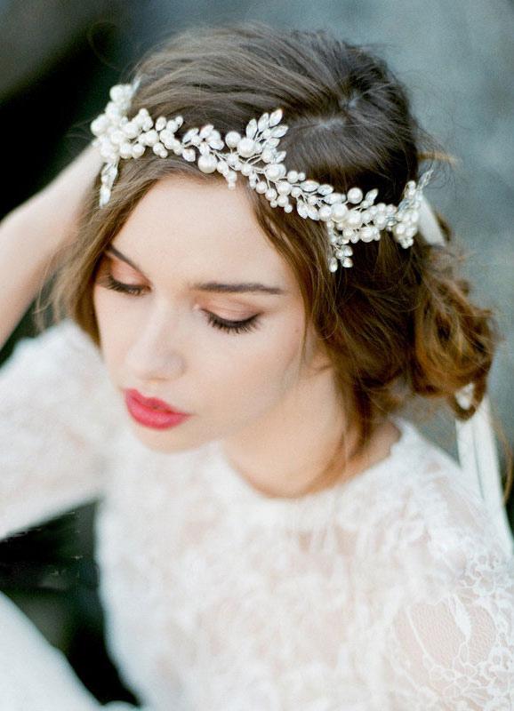 Beaded Headpiece Chain White Alloy Bridal Headbands (16 Cm X 13 Cm)