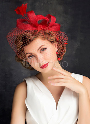 Applique Wedding Hat Bridal Headpieces Red Net Birdcage Veil