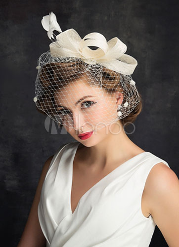 Birdcage Wedding Hats Linen Feather Ivory Bridal Wedding Headpiece