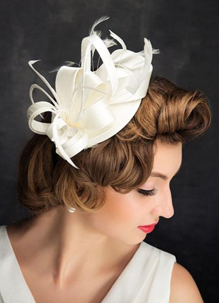 modische Muster am besten geliebt Sonderteil Braut Hochzeit Hut Feder weiß Leinen Kopfschmuck Hochzeit Haarblume  (Durchmesser 15cm)